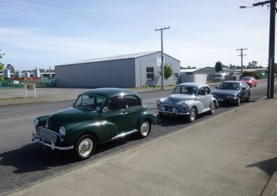 The Morris Minors of Don Cameron and Nelson Bowden of 1958 and 1955 vintages.