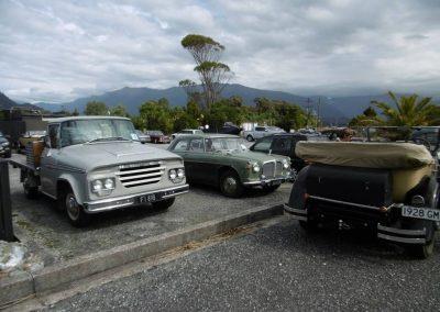 Members vehicles at Haast