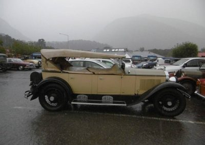 Clive Merry's 1928 Buick at Fox Glacier - a rare time that the hood is up on this vehicle.