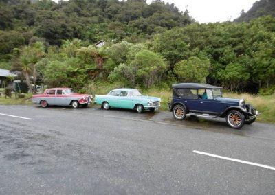 Members vehicles at Jacksons Bay