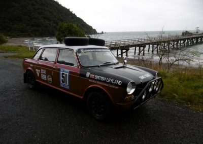 The 1968 Austin 1800 London-Sydney Rally replica, piloted by Brian Grace and Malcolm Eunson at Jacksons Bay