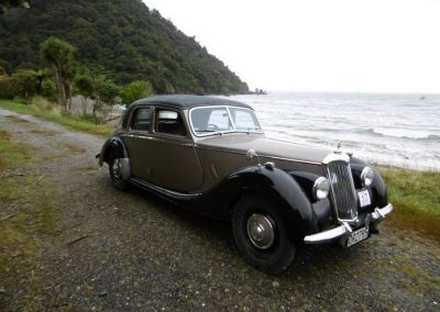 The Firth's 1950 Riley RMB at Jackson Bay - this vehicle travelled from Auckland to participate in this event