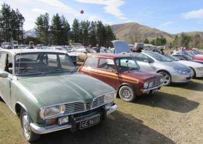 Cars on display at Clayton Station, near Fairlie